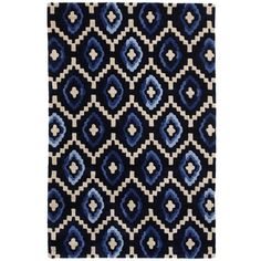 Plantation Rug Company Origins Rug 01 - 180 x 270 (370 JOD) ❤ liked on Polyvore featuring home, rugs, blue, blue kilim rug, geometric rug, wool area rugs, blue rug and hand woven rugs