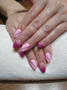 pink gel, glitter and stripes