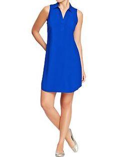 Women's Sleeveless-Collared Crepe Dresses | Old Navy $24.94