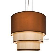 "4-Lamp 3 Tier 20.5"" Drum Shade Chandelier Pendant Lighting Fixture Brown / Black #Contemporary"