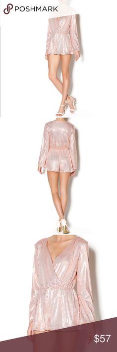 """Scarlett's Sequin Romper Long sleeve, sequin romper, with ruffle detail on the legs. Criss-cross plunge neck. Zipper closure. Can be worn with tights and booties. Brand: Honey Punch Fiber Content: 100% polyester. Fit is true to size. Model is wearing size S. Model's height 5'9"""", bust 32"""", waist 24"""", hips 34"""". Honey Punch Pants Jumpsuits & Rompers"""