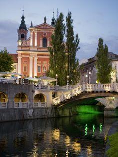 Ljubljanica River and Franciscan Church of the Annunciation at Dusk - Ljubljana, Slovenia