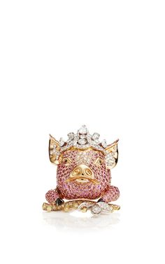 18K Pink Gold Animal Farm Ring With Multi-Colored Diamonds And Pink Sapphires by Lydia Courteille for Preorder on Moda Operandi