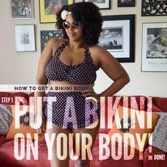 Outfit: How to Get a Bikini Body. Plus, an affordable plus-size bikini (a. fatkini) from Walmart Plus Size Swim, Plus Size Bikini, Plus Size High Waisted Bikinis, Plus Size Fashion Dresses, Stylish Plus, Cute Bathing Suits, Discount Dresses, Two Piece Bikini, Bikini Bodies