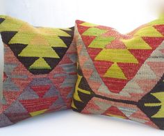 Set of 2 Hand woven Turkish Kilim Pillow Covers by SophiesBazaar, $96.00