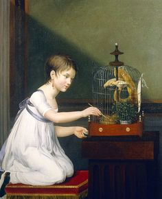 Jeanne Elizabeth Chaudet  Young Girl with Bird Cage  Late 18th century
