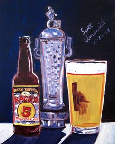 Beer Painting of Racer 5 IPA by Bear Republic Brewing Company in Sonoma County, California. Year of Beer Paintings by Scott Clendaniel - Day 326.
