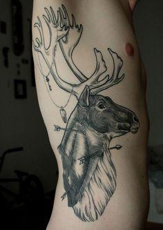 Deer + Tattoo + Lines + Engraving + Arrows + Horns = Sam Ruiz