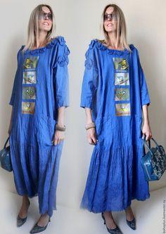 """Купить Платье в стиле бохо из льна """"Васильковое счастье"""" - синий, однотонный, платье из льна"""