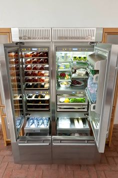 A LeCornue refrigerator. Sherlock can store body parts and experiments in the left hand compartment, food can be stored on the right.