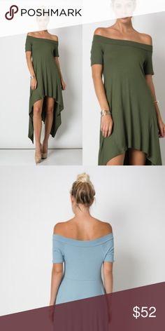 OLIVE .Off the shoulder hanki hem dress. Ribbed top.  True to size. Rayon/Lycra blend. True to size. Dresses Asymmetrical