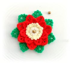 CROCHET BROOCH APPLIQUE CHRISTMAS FLOWER POINSETTIA GIFT DECORATION in Crafts, Crochet, Other Crochet | eBay