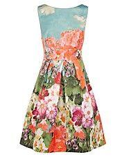Mulheres estampas florais elegante vestido Unbrella