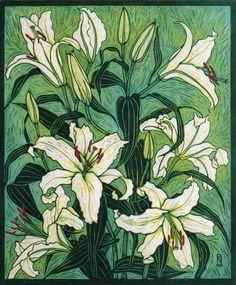 Hand-colored linocut on handmade Japanese paper by Rachel Newling. Birds Of Paradise Flower, Exotic Flowers, Tropical Flowers, Wood Engraving, Australian Artists, Linocut Prints, Woodblock Print, Botanical Art, Flower Art