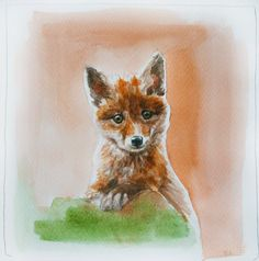 Baby Fox watercolor painting. Red fox. Tod. Original Watercolor Painting. Watercolor sketch. 9x9 on Etsy, $55.00