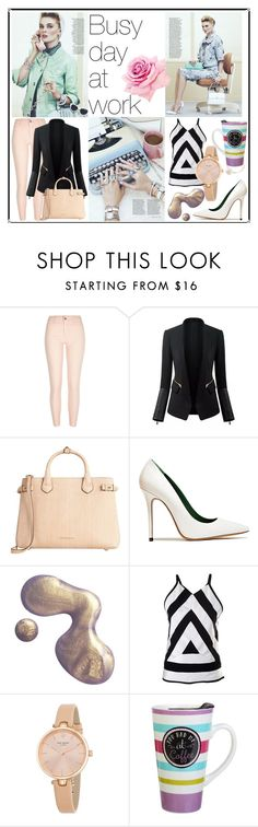 """""""Busy day at work"""" by victoriakfc on Polyvore featuring River Island, Burberry, Acne Studios, Kenzo, Kate Spade and Clay Art"""