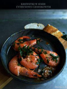 Krewetki w sosie cytrynowo czosnkowym Shrimp, Appetizers, Fish, Meat, Cooking, Recipes, Dulce De Leche, Kitchen, Appetizer