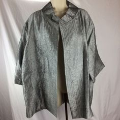 Eileen Fisher XL Elegant Silver Grey Silk Jacket with Collar NWT 3/4 Sleeves #EileenFisher #Jacket