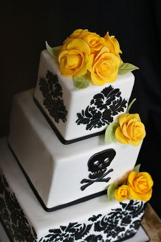 Elegant Skull & Crossbone Wedding Cake by The Couture Cakery, via Flickr
