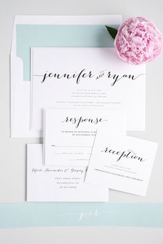 Loving for rustic yet romantic wedding invitations? Check out our Flowing Script wedding invitations in mint green!