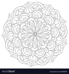 Adult coloring bookpage a zen mandala image for vector image on VectorStock Spring Coloring Pages, Colouring Pages, Adult Coloring Pages, Coloring Books, Geometric Mandala Tattoo, Mandala Tattoo Design, Mandala Art, Trippy Drawings, Color Me Beautiful