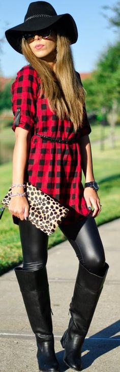 Red And Black Check Button Down