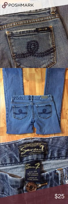 """Seven7 Faded and Distressed Stretch Jeans Excellent condition. 2% Spandex. Stitching on back pockets. One belt loop has some ripping. Was like that when I bought them. Length measures 31"""" and waist is 14"""" across.  Pair these jeans with one of my cute tops and save 15%. Seven7 Jeans Boot Cut"""