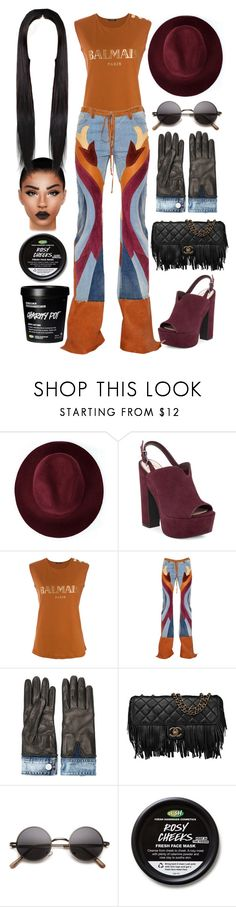"""""""Untitled #5436"""" by allison-syko ❤ liked on Polyvore featuring Redopin, Jessica Simpson, Balmain, Roberto Cavalli, Dsquared2 and Chanel"""