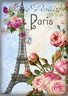 Paris postale with roses and Eiffel tower.