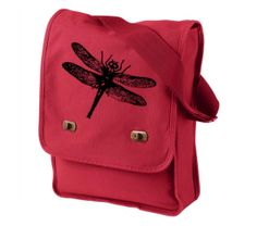Messenger Bag Dragonfly Canvas Messenger Red Field Bag Laptop Bag, $25.0
