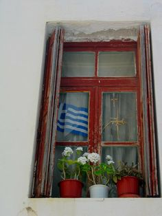 Red Window With Greek Flag, Mykonos Town, Mykonos, Greece  2011 / by Marny Perry