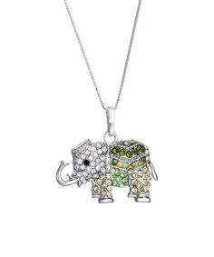 Look what I found on #zulily! Green Swarovski® Crystal Elephant Pendant Necklace #zulilyfinds