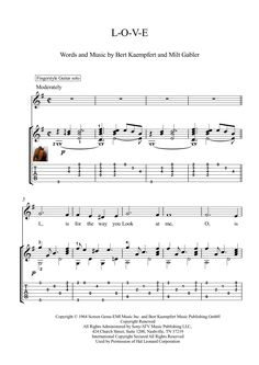 "LOVE guitar solo sheet music ""L-O-V-E"" is a song recorded by Nat King Cole, composed by Bert Kaempfert, with lyrics by Milt Gabler. This arrangement is for classical or fingerstyle guitar solo, with tablature, challenges : rhythm, left hand fingers stretches, with downloadable mp3 for audio help."