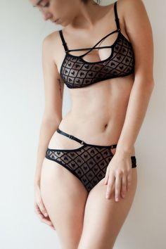 Cora stappy lingerie set black hearts mesh  soft by Toru and Naoko