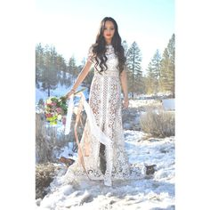 Vintage Sheer Scalloped Lace Hippie Boho Bohemian Flared Mini Train... ($798) ❤ liked on Polyvore featuring dresses, silver, women's clothing, vintage dresses, lace maxi dress, vintage white dress, white boho dress and white maxi dress