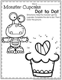 Monster Cupcake Dot to Dot Preschool Worksheet for February