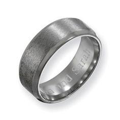 Tom band - Men's 8.0mm Engraved Titanium Beveled Edge Wedding Band (27 Characters)