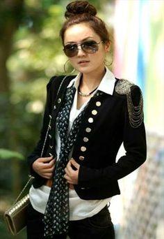 Military Style Black Short Coat