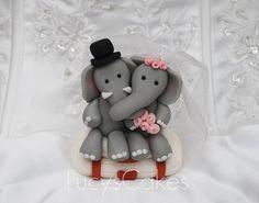 Bride and Groom Elephant Wedding Cake Topper