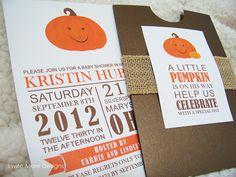 Little Pumpkin Baby Shower Invitation, Invite More Designs via Flickr.