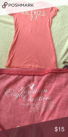 American eagle 🦅 pink cotton tee Great tee ready for spring🌺 American Eagle Outfitters Tops Tees - Short Sleeve