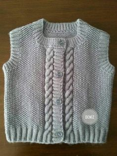 Round Collar Kids Jacket Recipe with Rice Pattern Auger Pattern. Baby Knitting Patterns, Arm Knitting, Knitting For Kids, Crochet For Kids, Crochet Baby, Knit Crochet, Baby Boy Vest, Baby Cardigan, Knitted Baby Clothes