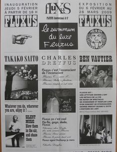 Artist/ Author: Ben Vautier, Takako Saito Title : Fluxus Text / Language: French and english Measurements: x inches Condition: mint / folded as issued extra information on this item: Collect Fluxus Movement, Neo Dada, Latin Words, Texture Art, Mail Art, Magazine Design, Photo Art, Book Art, Texts