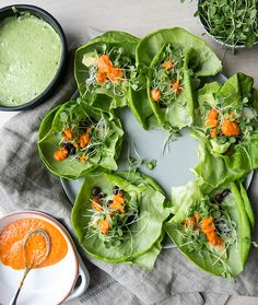 Lettuce Wraps with Black Beans, Spring Onions, Pea Pesto, & Homemade Hot Sauce | What's Cooking Good Looking