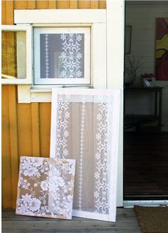 DIY fly screen using old lace curtains