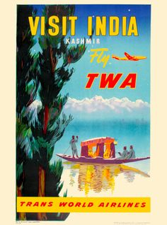 India Kashmir Visit Indian by Airplane Vintage Travel Advertisement Art Poster  #PopArt