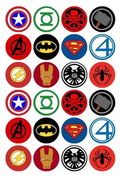 24 x Superhero Logos Edible Cupcake Toppers Pre-Cut in Home & Garden, Parties, Occasions, Cake | eBay