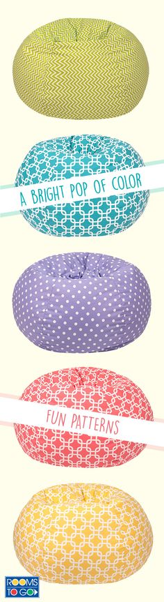 A bright pop of color and a fun pattern make the Daleyza bean bag perfect for any home.