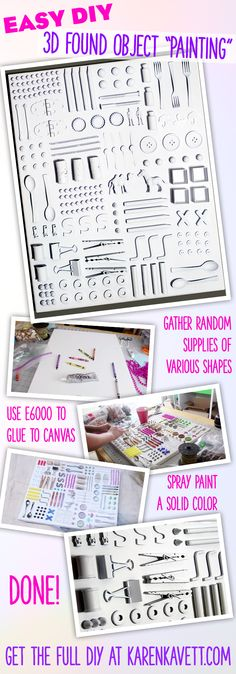 """Easy DIY Project - make a 3D found object """"painting"""" and use up all the little crafty bits and bobs left over from past projects!"""