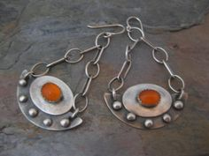 Bright Orange Carnelian Sterling Silver Earrings by StrawberryFrog, $79.00